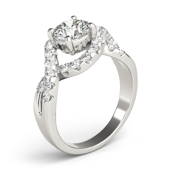 Intertwined Bridge Diamond Engagement Ring with Halo