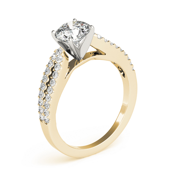 Split Band Cathedral Diamond Engagement Ring Yellow Gold