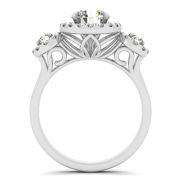 Three Stone Halo Diamond Engagement Anniversary Ring