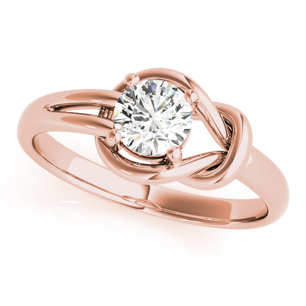 Solitaire Love Knot Ring Rose Gold