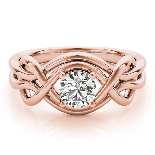 Solitaire Love Knot Intertwined Ring Rose Gold