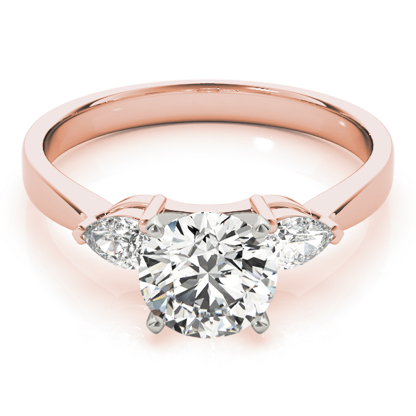 Three Stone Diamond Ring Pear Shaped Accent Diamonds in Rose Gold