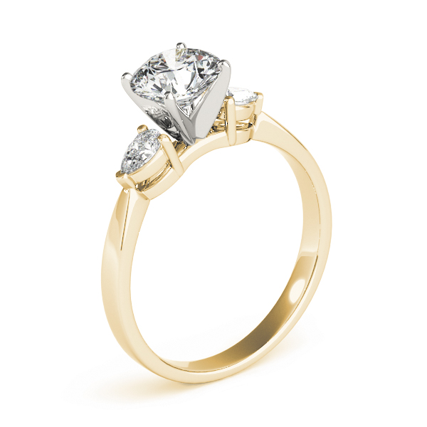 Three Stone Diamond Ring Pear Shaped Accent Diamonds in Yellow Gold