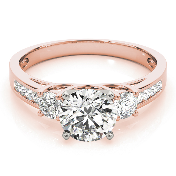 Three Stone Diamond Anniversary Ring in Rose Gold