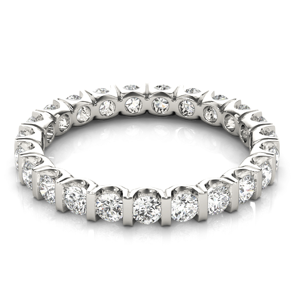 U Bar Set Round Diamond Eternity Band 1.1 Ct