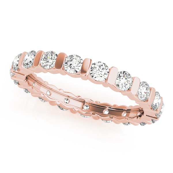 Bar Set Diamond Eternity Band 1.26 Ct Rose Gold