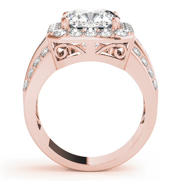 Large Square Halo Diamond Engagement Ring with Multi-Row Band in Rose Gold