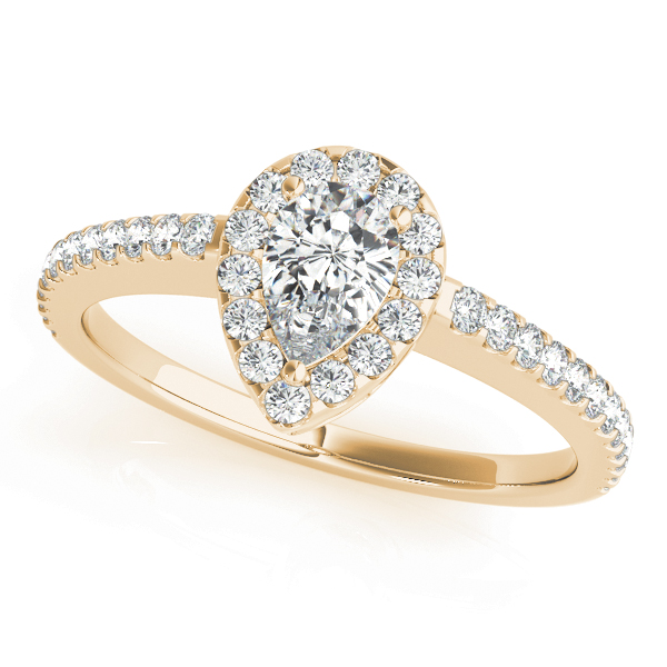 Pear Shaped Halo Diamond Filigree Engageement Ring in Yellow Gold