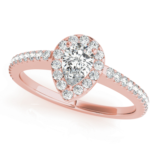 Pear Shaped Halo Diamond Filigree Engageement Ring in Rose Gold