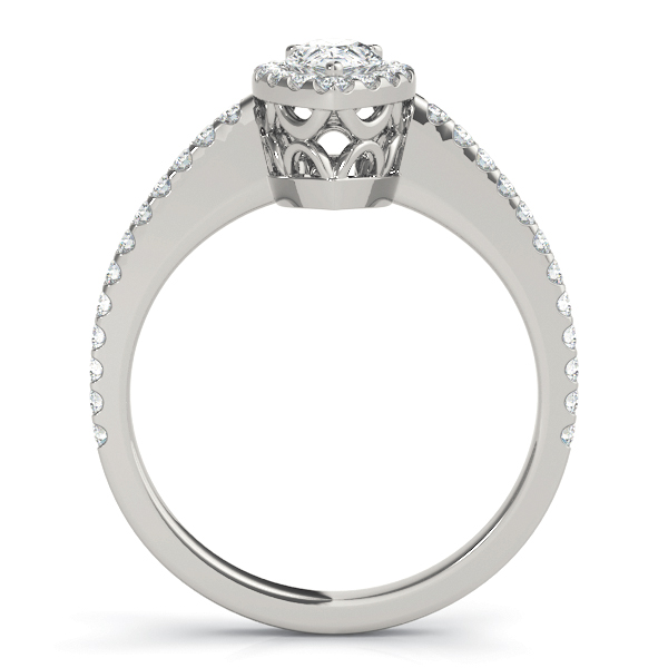 Pear Shaped Halo Diamond Engageement Ring, Filigree
