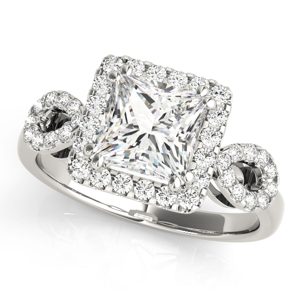 Princess Halo Diamond Engagement Ring, Open Band