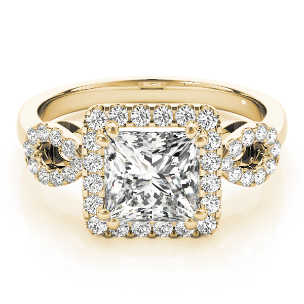 Princess Halo Diamond Engagement Ring, Open Band in Yellow Gold