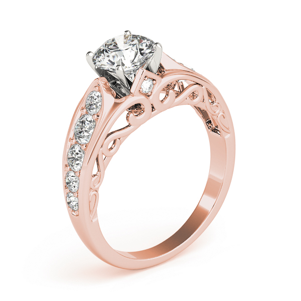 Graduated Diamond Engagement Ring with Filigree in Rose Gold