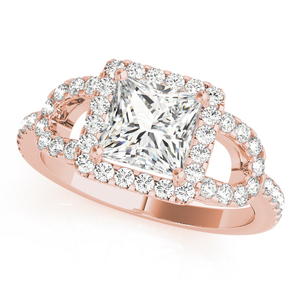 Princess Halo Horseshoe Petite Diamond Engagement Ring in Rose Gold