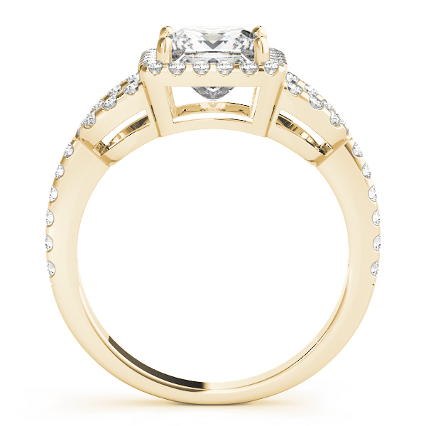 Princess Halo Horseshoe Petite Diamond Engagement Ring in Yellow Gold