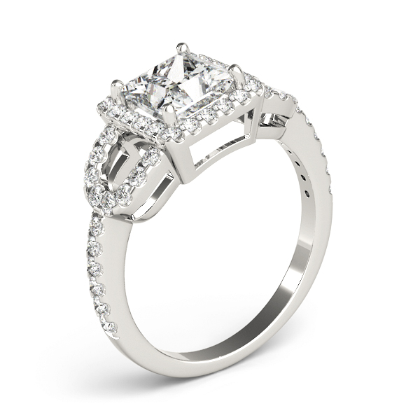 Princess Halo Horseshoe Petite Diamond Engagement Ring