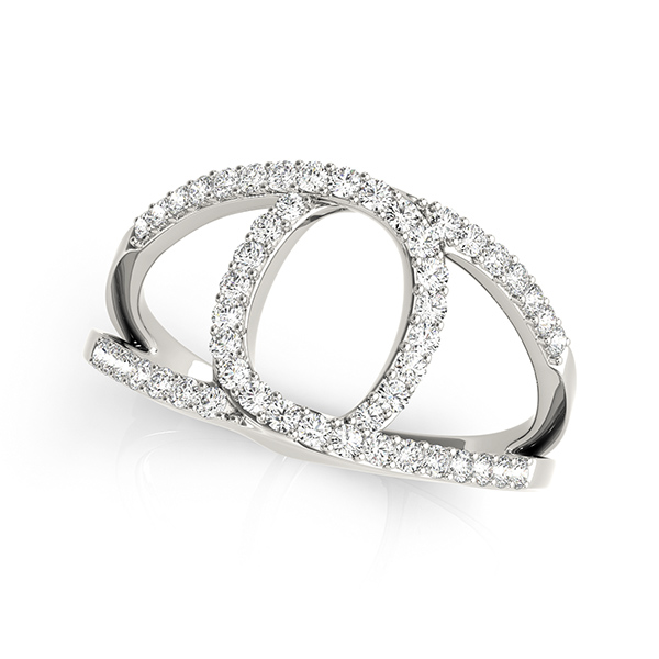 Abstract Intertwined Split Band Horseshoe Diamond Ring