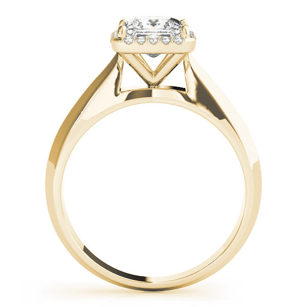 Solitaire Diamond Princess Halo Engagement Ring in Yellow Gold