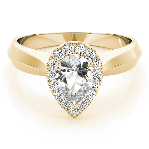Solitaire Diamond Pear Halo Engagement Ring in Yellow Gold