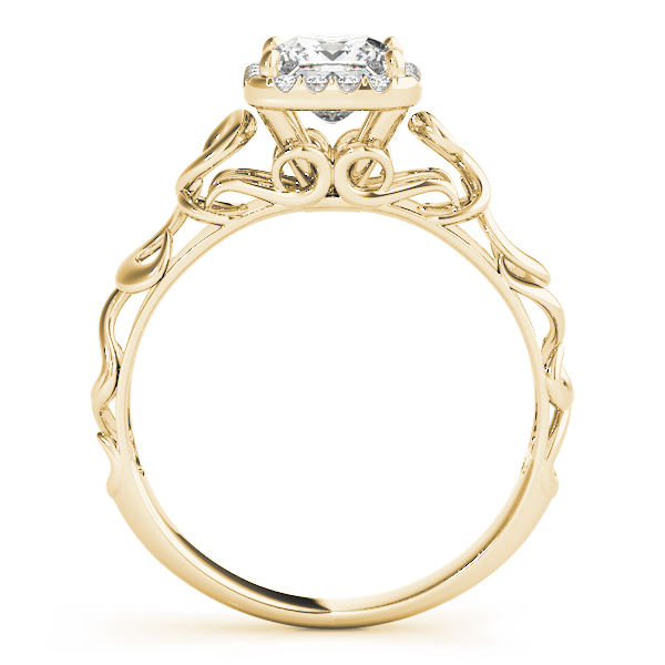 Filigree Halo Princess Cut Diamond Solitaire Engagement Ring in Yellow Gold