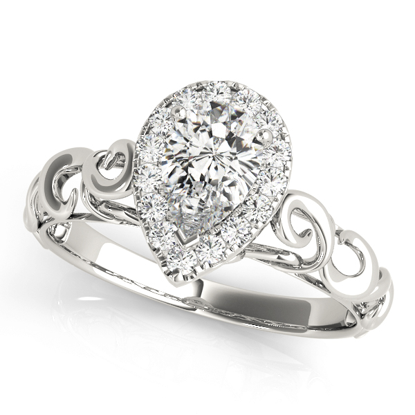 Filigree Halo Pear Shape Diamond Solitaire Engagement Ring
