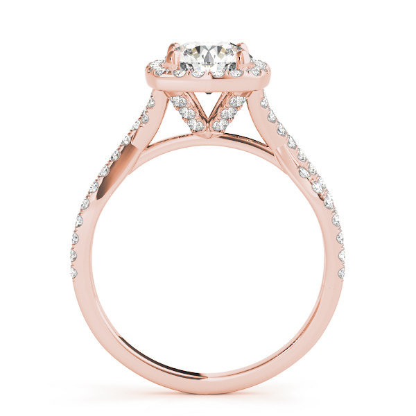 Cathedral Halo  Diamond Engagement Ring Intertwined Band in Rose Gold