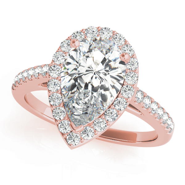 Pear Shape Diamond Halo Cathedral Engagement Ring in Rose Gold