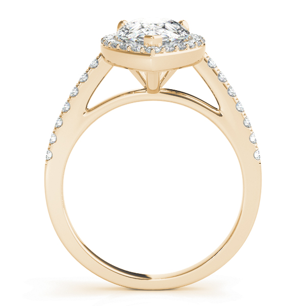 Pear Shape Diamond Halo Cathedral Engagement Ring in Yellow Gold