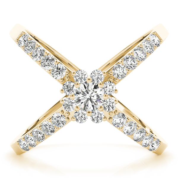 Diamond X Ring Yellow Gold