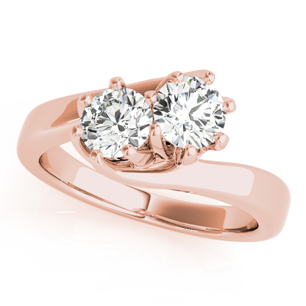 Duo Swirl Round Diamond Ring Rose Gold
