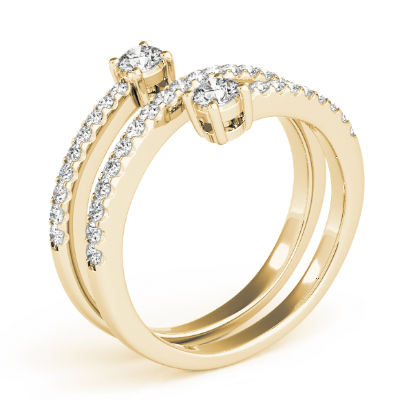 Spiral Duo Diamond Ring in Yellow Gold