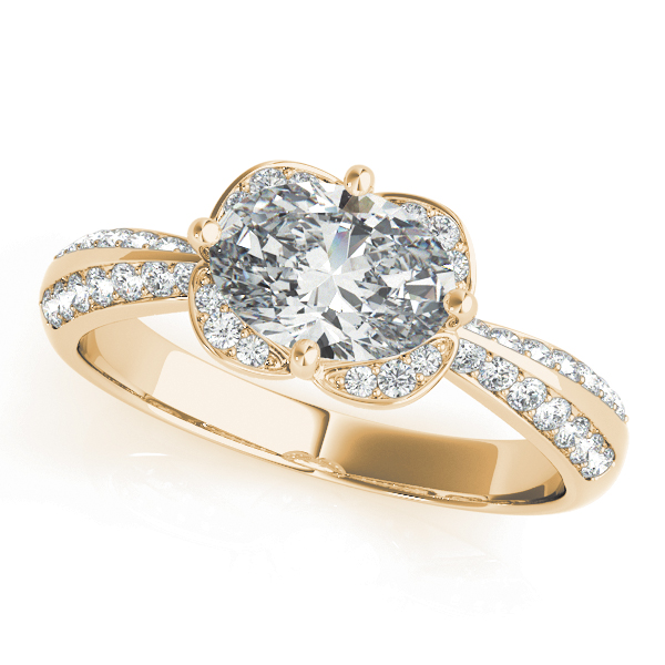 Horitzontal Floral Halo Engagement Ring