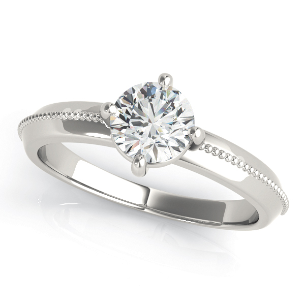 Low Profile Knife Edge Solitaire Engagement Ring with Milligrain