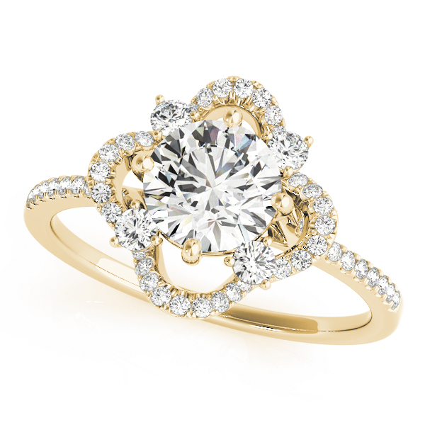 Cathedral Floral Diamond Halo Engagement Ring in Yellow Gold