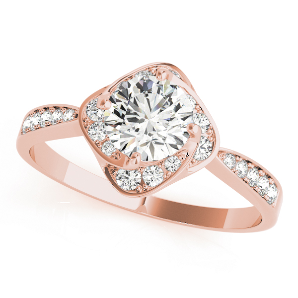 Swirl Halo Flower Diamond Engagement Ring in Rose Gold