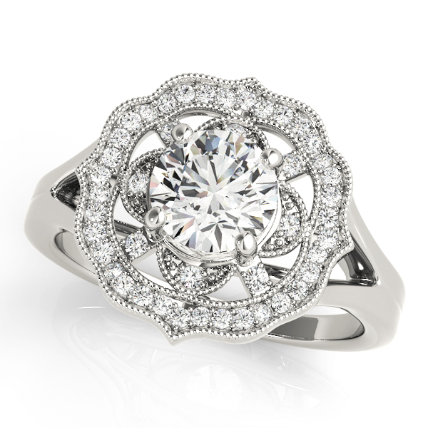 Filigree Halo Diamond Engagement Ring, Split Band