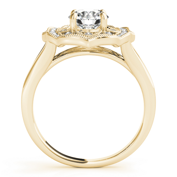 Filigree Halo Diamond Engagement Ring, Split Band in Yellow Gold