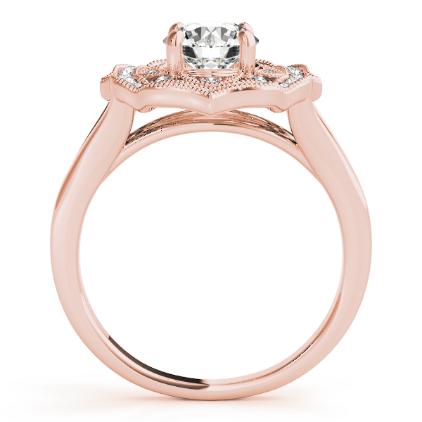 Filigree Halo Diamond Engagement Ring, Split Band in Rose Gold
