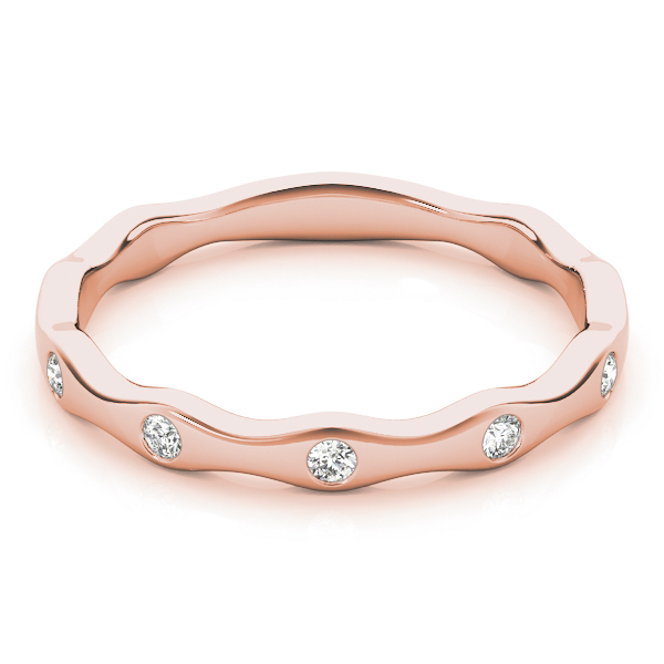 Burnished Diamond Rose Gold Stackable Ring