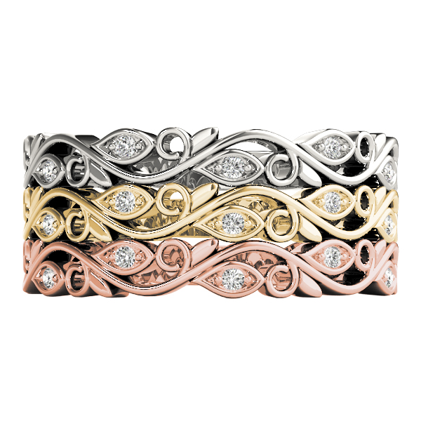Floral Vine Diamond Stackable Rings Set