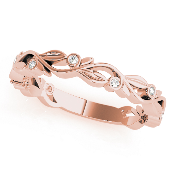 Floral Bezel Diamond Rose Gold Stackable Ring