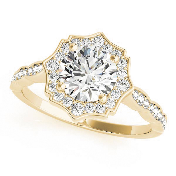 Scalloped Diamond Halo Engagement Ring in Yellow Gold