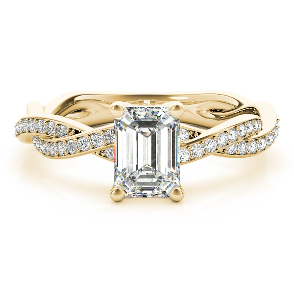 Emerald Cut Petite Eternity Intertwined Diamond Engagement Ring in Yellow Gold