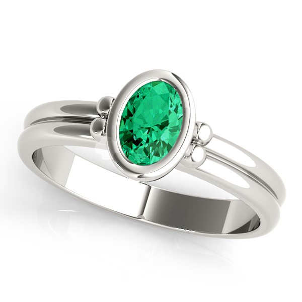 Oval Green Emerald Bezel Engagement Ring