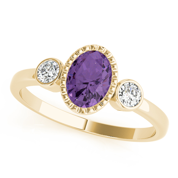 Oval Purple Amethyst Bezel Ring Yellow Gold
