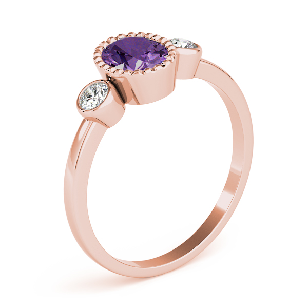 Oval Purple Amethyst Bezel Ring Rose Gold
