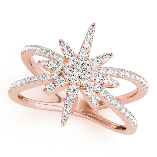 Snowflake Diamond Ring Rose Gold