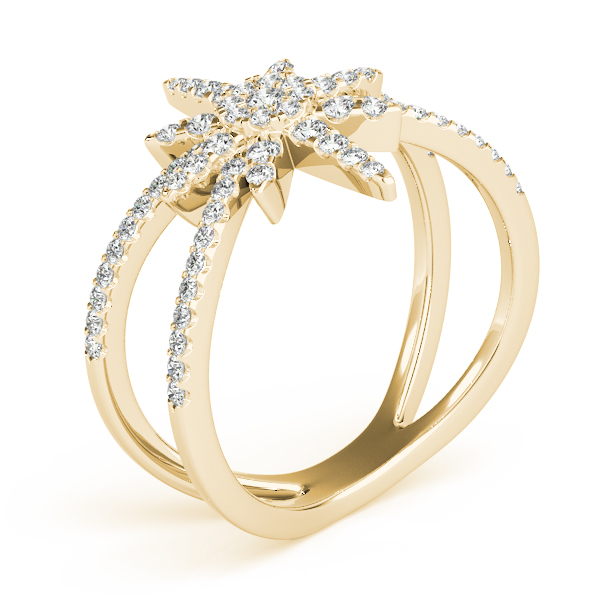 Snowflake Diamond Ring Yellow Gold