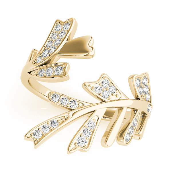 Diamond Mayfly Leaf Ring Yellow Gold