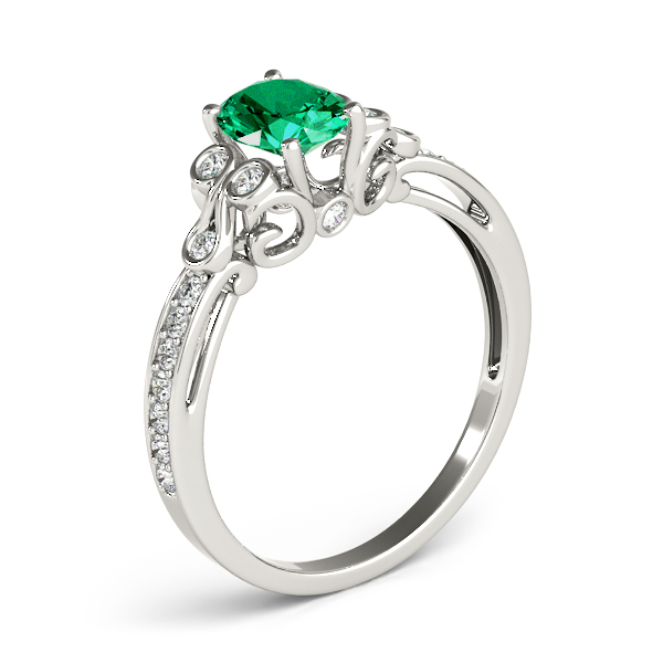 Oval Green Emerald Trinity Ring